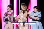 (L-R) Kaitlyn Dever, Olivia Wilde, and Beanie Feldstein speak onstage during the 2020 Film Independent Spirit Awards on February 08, 2020 in Santa Monica, California.