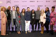 "Michelle Hurd, Jay Pharoah, James Van Der Beek, Kelly Rowland, Daheli Hall, Angel Lopez, Elle Lorraine, Producer Eddie Vaisman, Julia Lebedev, Ashley Blaine, and Yaani King Mondschein attend the ""Bad Hair"" premiere during the 2020 Sundance Film Festival at The Ray on January 23, 2020 in Park City, Utah."