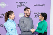 "(L-R) Cristin Milioti, Andy Samberg, and Camila Mendes attend the 2020 Sundance Film Festival - ""Palm Springs"" Premiere at Library Center Theater on January 26, 2020 in Park City, Utah."