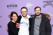 """(L-R) Producers Becky Sloviter, Avika Schaffer, and Andy Samberg attend the 2020 Sundance Film Festival - """"Palm Springs"""" Premiere at Library Center Theater on January 26, 2020 in Park City, Utah."""