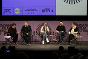 Carrie Mae Weems, Ai Weiwei, Kerry Washington, Lin-Manuel Miranda and Julie Taymor speak on stage at the 2020 Sundance Film Festival - Power Of Story: Just Art Panel at Egyptian Theatre on January 25, 2020 in Park City, Utah.