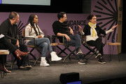 (L-R) Ai Weiwei, Kerry Washington, Lin-Manuel Miranda and Julie Taymor speak on stage at the 2020 Sundance Film Festival - Power Of Story: Just Art Panel at Egyptian Theatre on January 25, 2020 in Park City, Utah.