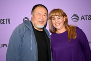 """Filmmakers Ai Weiwei (L) and Ania Trzebiatowska attend the """"Vivos"""" premiere during the 2020 Sundance Film Festival at The Marc Theatre on January 24, 2020 in Park City, Utah."""