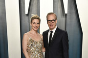 Rhea Seehorn and Bob Odenkirk attend the 2020 Vanity Fair Oscar Party hosted by Radhika Jones at Wallis Annenberg Center for the Performing Arts on February 09, 2020 in Beverly Hills, California.