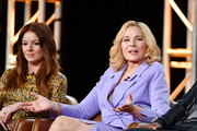 Aubrey Dollar and Kim Cattrall of 'Filthy Rich' speak during the Fox segment of the 2020 Winter TCA Press Tour at The Langham Huntington, Pasadena on January 07, 2020 in Pasadena, California.