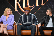 (L-R) Kim Cattrall, Steve Harris and Benjamin Levy Aguilar of 'Filthy Rich' speaks during the Fox segment of the 2020 Winter TCA Press Tour at The Langham Huntington, Pasadena on January 07, 2020 in Pasadena, California.