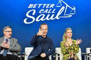 "(L-R) Vince Gilligan, Bob Odenkirk and Rhea Seehorn of ""Better Call Saul"" speak during the AMC segment of the 2020 Winter TCA Press Tour at The Langham Huntington, Pasadena on January 16, 2020 in Pasadena, California."