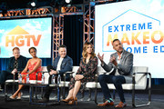 """(L-R) Jesse Tyler Ferguson, Breegan Jane, Darren Keefe, Carrie Locklyn and Loren Ruch of """"Extreme Makeover: Home Edition"""" speak during the HGTV segment of the 2020 Winter TCA Press Tour at The Langham Huntington, Pasadena on January 16, 2020 in Pasadena, California."""