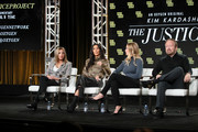 Farnaz Farjam, Kim Kardashian West, Jessica Jackson and Vince Dipersio of 'The Justice Project' speak onstage during the 2020 Winter TCA Tour Day 12  at The Langham Huntington, Pasadena on January 18, 2020 in Pasadena, California.