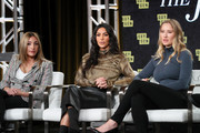 Farnaz Farjam, Kim Kardashian West and Jessica Jackson of 'The Justice Project' speak onstage during the 2020 Winter TCA Tour Day 12  at The Langham Huntington, Pasadena on January 18, 2020 in Pasadena, California.