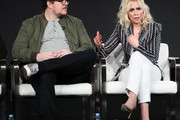 """Cameron Britton and Judith Light of """"Manhunt: Deadly Games"""""""" speak on stage during the Spectrum Originals/Lionsgate Television segment of the 2020 Winter TCA Tour at The Langham Huntington, Pasadena on January 18, 2020 in Pasadena, California."""