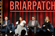 "(L-R) Andy Greenwald, Rosario Dawson, Jay R. Ferguson and Kim Dickens of ""Briarpatch"" speak during the NBCUniversal segment of the 2020 Winter TCA Press Tour at The Langham Huntington, Pasadena on January 11, 2020 in Pasadena, California."