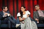 "(L-R) Andy Greenwald, Rosario Dawson and Jay R. Ferguson of ""Briarpatch"" speak during the NBCUniversal segment of the 2020 Winter TCA Press Tour at The Langham Huntington, Pasadena on January 11, 2020 in Pasadena, California."