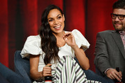 "Rosario Dawson and Jay R. Ferguson of ""Briarpatch"" speak during the NBCUniversal segment of the 2020 Winter TCA Press Tour at The Langham Huntington, Pasadena on January 11, 2020 in Pasadena, California."