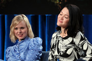"""Alison Pill (L) and Isa Briones of """"Star Trek: Picard"""" speak during the CBS All Access segment of the 2020 Winter TCA Tour at The Langham Huntington, Pasadena on January 12, 2020 in Pasadena, California."""