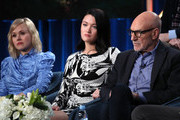 """(L-R) Alison Pill, Isa Briones and Sir Patrick Stewart of """"Star Trek: Picard"""" speak during the CBS All Access segment of the 2020 Winter TCA Tour at The Langham Huntington, Pasadena on January 12, 2020 in Pasadena, California."""