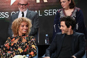 "(L-R) Akiva Goldsman, Michelle Hurd, Kirsten Beyer and Santiago Cabrera of ""Star Trek: Picard"" speak during the CBS All Access segment of the 2020 Winter TCA Tour at The Langham Huntington, Pasadena on January 12, 2020 in Pasadena, California."