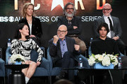 "(L-R) Isa Briones, Heather Kadin, Sir Patrick Stewart, Michael Chabon, Evan Evagora and Akiva Goldsman of ""Star Trek: Picard"" speak during the CBS All Access segment of the 2020 Winter TCA Tour at The Langham Huntington, Pasadena on January 12, 2020 in Pasadena, California."