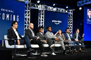 Sam Esmail, Kyle Patrick Alvarez, Janelle Monae, Stephan James, Hong Chau, Eli Horowitz and Micah Bloomberg of Amazon Prime's 'Homecoming' speak onstage during the 2020 Winter TCA Tour Day 8 at The Langham Huntington, Pasadena on January 14, 2020 in Pasadena, California.
