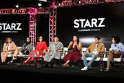 "(L-R) Tanya Saracho, Melissa Barrera, Mishel Prada, Ser Anzoategui, Chelsea Rendon, Carlos Miranda and Roberta Colindrez of ""Vida"" speak during the Starz segment of the 2020 Winter TCA Press Tour  at The Langham Huntington, Pasadena on January 14, 2020 in Pasadena, California."