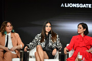 "(L-R) Tanya Saracho, Melissa Barrera and Mishel Prada of ""Vida"" speak during the Starz segment of the 2020 Winter TCA Press Tour  at The Langham Huntington, Pasadena on January 14, 2020 in Pasadena, California."