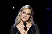 Kate Hudson speaks onstage during the 2020 Writers Guild Awards West Coast Ceremony at The Beverly Hilton Hotel on February 01, 2020 in Beverly Hills, California.