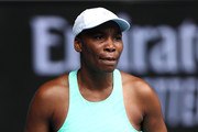 Venus Williams of The United States of America celebrates after winning the first set in her Women's Singles first round match against Kirsten Flipkens of Belgium during day one of the 2021 Australian Open at Melbourne Park on February 08, 2021 in Melbourne, Australia.