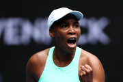 Venus Williams of The United States of America celebrates after winning a point in her Women's Singles first round match against Kirsten Flipkens of Belgium during day one of the 2021 Australian Open at Melbourne Park on February 08, 2021 in Melbourne, Australia.