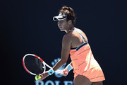 Heather Watson of Great Britain serves in her Women's Singles first round match against Kristyna Pliskova of Czech Republic during day two of the 2021 Australian Open at Melbourne Park on February 09, 2021 in Melbourne, Australia.