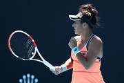 Heather Watson of Great Britain celebrates after winning a point in her Women's Singles first round match against Kristyna Pliskova of Czech Republic during day two of the 2021 Australian Open at Melbourne Park on February 09, 2021 in Melbourne, Australia.