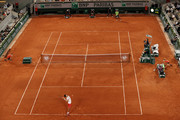 General view of Court Philippe-Chatrier as Novak Djokovic of Serbia serves during his Men's Singles Semi Final match against Rafael Nadal of Spain on day Thirteen of the 2021 French Open at Roland Garros on June 11, 2021 in Paris, France.