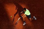 Rafael Nadal of Spain plays a forehand volley during his Men's Singles Semi Final match against Novak Djokovic of Serbia on day Thirteen of the 2021 French Open at Roland Garros on June 11, 2021 in Paris, France.