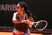 Heather Watson of Great Britain plays a forehand in their ladies singles first round match against Zarina Diyas of Kazakhstan on day two of the 2021 French Open at Roland Garros on May 31, 2021 in Paris, France.