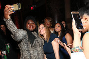 Gabourey Sidibe (L) and Bottomless Closet Ambassadors Christiana and Cristal attend the 20th Anniversary Bottomless Closet Luncheon at Cipriani 42nd Street on May 15, 2019 in New York City.