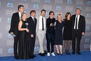 (L-R) Producers John Sloss and Cathleen Sutherland, director Richard Linklater, actors Ethan Hawke, Ellar Coltrane and Patricia Arquette and producers Sandra Adair and Jonathan Sehring, winners of Best Picture for 'Boyhood', pose in the press room during the 20th annual Critics' Choice Movie Awards at the Hollywood Palladium on January 15, 2015 in Los Angeles, California.