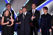 (L-R) Producer Cathleen Sutherland, producer Jonathan Sehring, actress Patricia Arquette, director/writer Richard Linklater, producer John Sloss, and actor Ellar Coltrane accept the Best Picture award for 'Boyhood' onstage during the 20th annual Critics' Choice Movie Awards at the Hollywood Palladium on January 15, 2015 in Los Angeles, California.