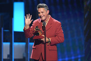 Alejandro Sanz accepts his Record of The Year Award performs onstage during the 20th annual Latin GRAMMY Awards at MGM Grand Garden Arena on November 14, 2019 in Las Vegas, Nevada.