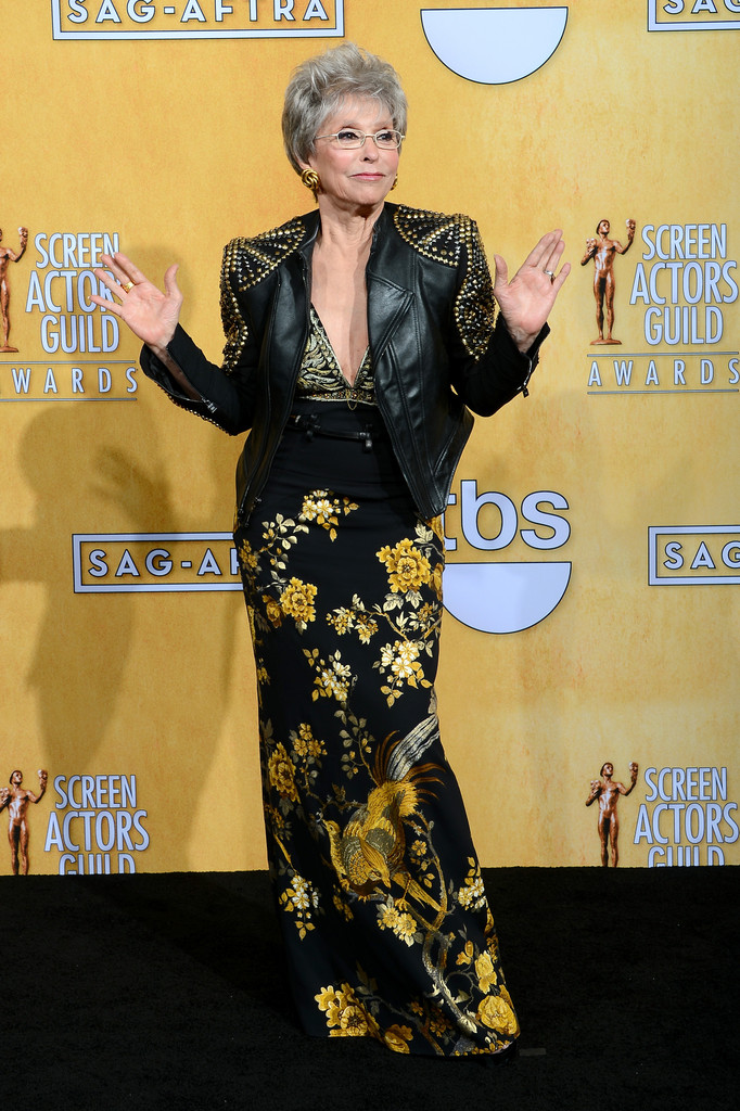 Actress Rita Moreno, recipient of the Screen Actors Guild Life Achievement Award, poses in the press room during the 20th Annual Screen Actors Guild Awards at The Shrine Auditorium on January 18, 2014 in Los Angeles, California.