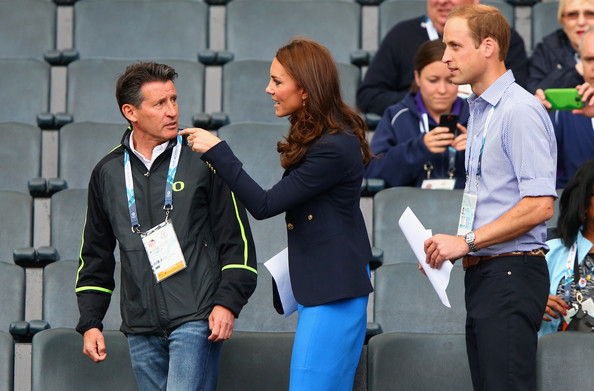 Lord Sebastian Coe, Catherine, Duchess of Cambridge and Prince William, Duke of Cambridge take their seats at Hampden Park during day six of the Glasgow 2014 Commonwealth Games on July 29, 2014 in Glasgow, United Kingdom.