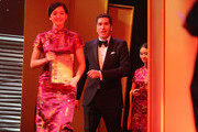 """Writer Drew Goddard accepts the Best Global Screenplay for """"The Martian"""" onstage during the 21st Annual Huading Global Film Awards at The Theatre at Ace Hotel on December 15, 2016 in Los Angeles, California."""