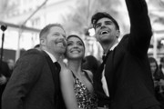 (Editors Note: This image was taken in Black & White Mode) An alternative view actors Jesse Tyler Ferguson, Sarah Hyland and Justin Mikita as they arrive to the 21st Annusal Screen Actors Guild Awards at The Shrine Auditorium on January 25, 2015 in Los Angeles, California.