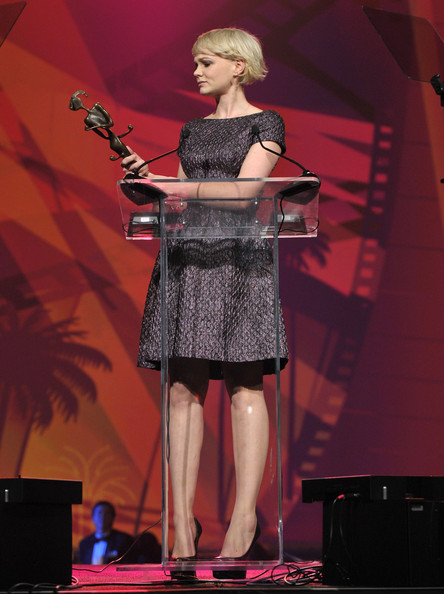 "Actress Carey Mulligan accepts the ""Breakthrough Performance Award"" onstage during the 22nd Annual Palm Springs International Film Festival Awards Gala at the Palm Springs Convention Center on January 8, 2011 in Palm Springs, California."