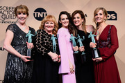 (L-R) Actors Phyllis Logan, Lesley Nicol, Sophie McShera, Raquel Cassidy, and Joanne Froggatt, winners of  Outstanding Performance by an Ensemble in a Drama Series for 'Downton Abbey,' pose in the press room during the 22nd Annual Screen Actors Guild Awards at The Shrine Auditorium on January 30, 2016 in Los Angeles, California.