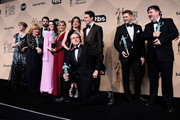 (L-R) Actors Phyllis Logan; Tom Cullen; Lesley Nicol; Sophie McShera; Joanne Froggatt; Raquel Cassidy; Kevin Doyle; Julian Ovenden; Allen Leech; and Jeremy Swift, winners of  Outstanding Performance by an Ensemble in a Drama Series for 'Downton Abbey,' pose in the press room during the 22nd Annual Screen Actors Guild Awards at The Shrine Auditorium on January 30, 2016 in Los Angeles, California.