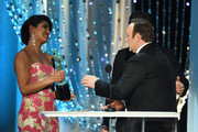 Actor Kevin Spacey accepts the Male Actor in a Drama Series award for 'House of Cards' from actors Priyanka Chopra and Pedro Pascal onstage during The 22nd Annual Screen Actors Guild Awards at The Shrine Auditorium on January 30, 2016 in Los Angeles, California. 25650_021