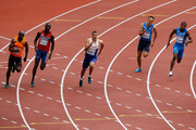 (L-R) Churandy Martina of the Netherlands, Jaysuma Saidy Ndure of Norway, Adam Gemili of Great Britain and Northern Ireland, Jonathan Astrand of Finland and Eseosa Desalu of Italy compete in the Men's 200 metres heats during day three of the 22nd European Athletics Championships at Stadium Letzigrund on August 14, 2014 in Zurich, Switzerland.