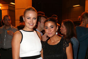 Actors Malin Akerman (L) and Emmanuelle Chriqui attend the 23rd Annual Environmental Media Awards presented by Toyota and Lexus at Warner Bros. Studios on October 19, 2013 in Burbank, California.