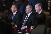 TOPSHOT - Russian President Vladimir Putin (C), Turkish President Recep Tayyip Erdogan (R) and Azerbaijan's President Ilham Aliev attend the 23rd World Energy Congress on October 10, 2016 in Istanbul. .Russian President Vladimir Putin arrived in Istanbul on October 10 on his first trip to Turkey following a crisis sparked by the shooting down of a Russian war plane over Syria last November. / AFP / OZAN KOSE
