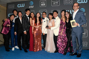 Cast and crew for 'Crazy Rich Asians,' winners of Best Comedy Movie, pose in the press room during the 24th annual Critics' Choice Awards at Barker Hangar on January 13, 2019 in Santa Monica, California.