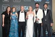 (L-R) Allyson Seeger, Millicent Simmonds, Brad Fuller, Emily Blunt, John Krasinski, and Andrew Form, winners of Best Sci-Fi/Horror Movie for 'A Quiet Place', pose in the press room during the 24th annual Critics' Choice Awards at Barker Hangar on January 13, 2019 in Santa Monica, California.